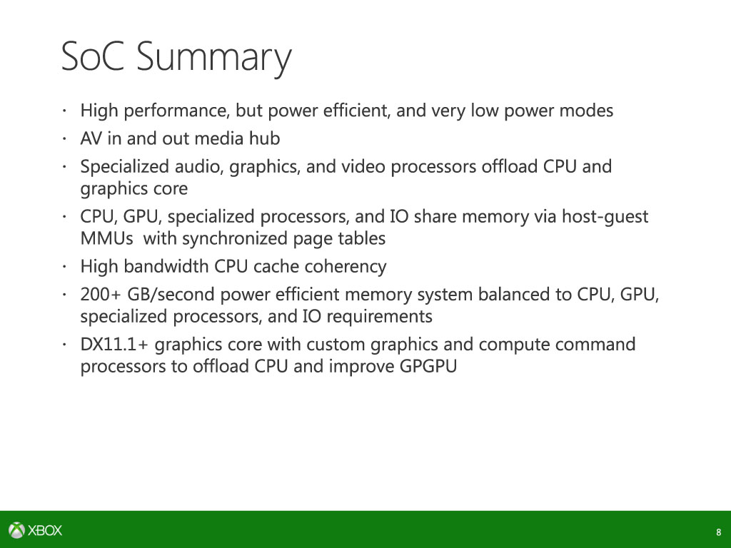 Details of the xbox one's System on Chip performance and components