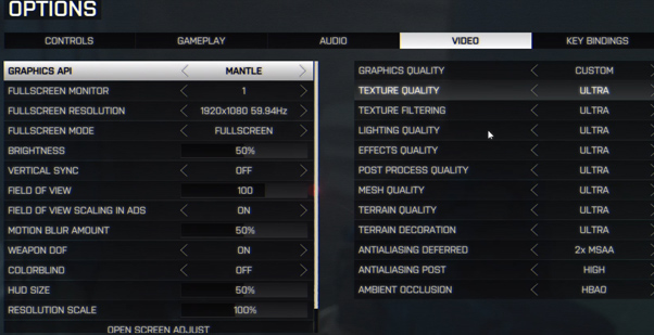 Battlefield 4 maxed out on the R9 280 with Mantle enabled for benchmarking