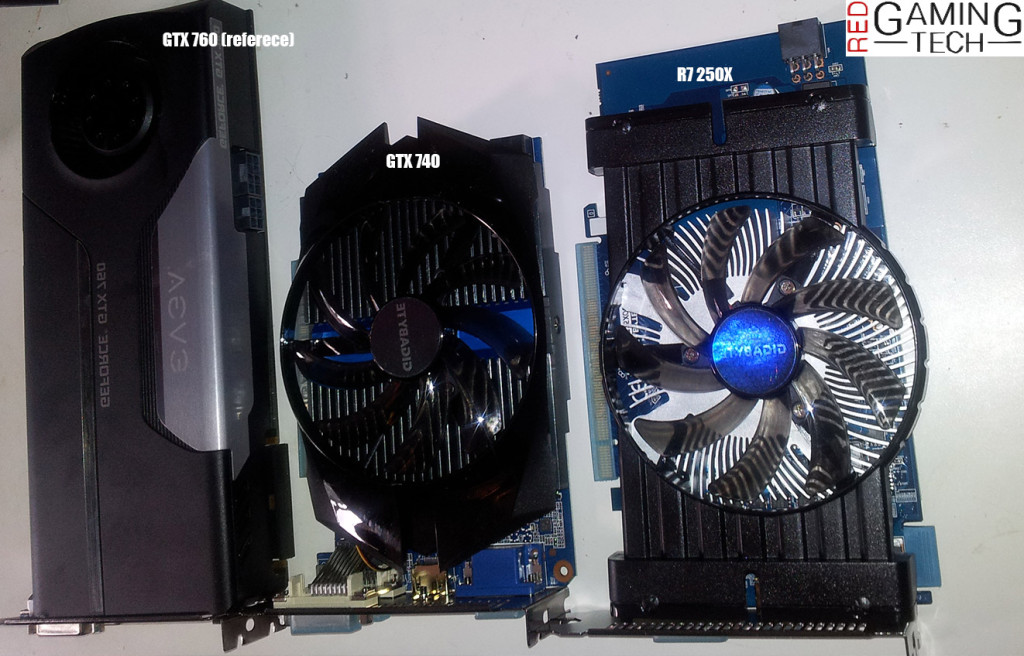 A size comparison of a GTX 740, a GTX 760 and AMD's R7 250X.
