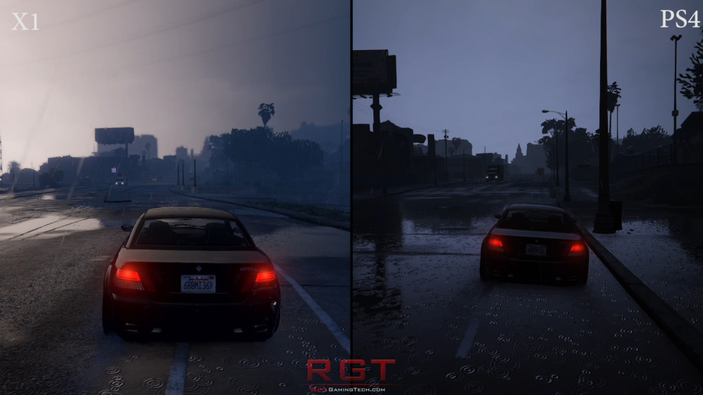Driving in the rain - PS4 vs X1 - Grand Theft Auto can look pretty indeed
