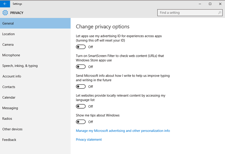 Image result for windows 10 privacy settings