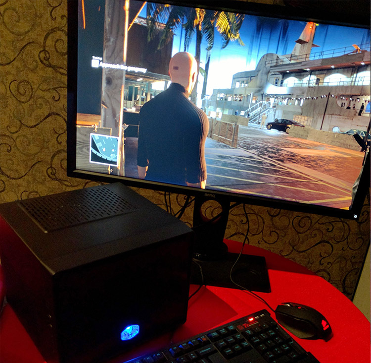 Hitman 2016 running on a Polaris 10 radeon GPU inside a small form factor PC.